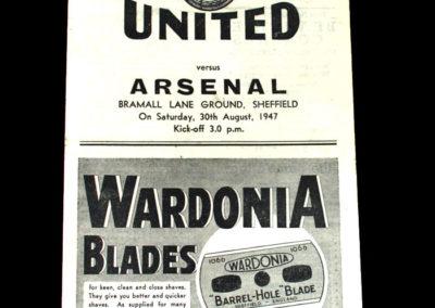 Arsenal v Sheffield United 30.08.1947