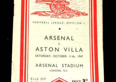 Arsenal v Aston Villa 11.10.1947