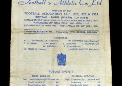 Man Utd v Bolton 01.09.1951