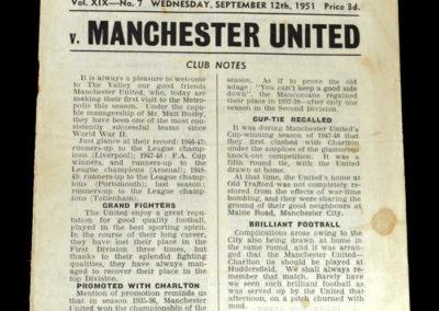 Man Utd v Charlton 12.09.1951