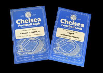 Chelsea v Burnley 23.08.1954 | Chelsea v Bolton 28.08.1954
