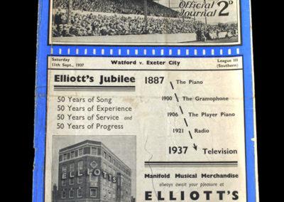 Watford v Exeter 11.09.1937