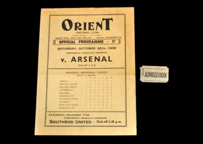 Orient v Arsenal 28.10.1939 (Programme & Ticket)