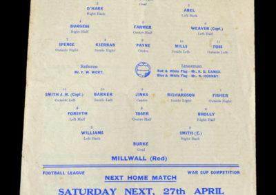 Chelsea v Millwall 24.04.1940