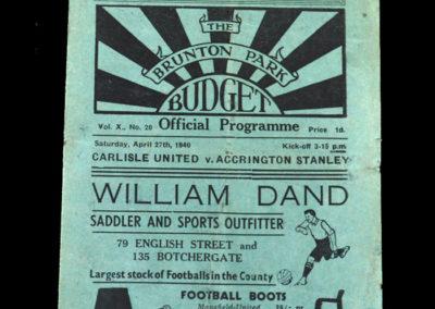 Carlisle v Accrington 27.04.1940