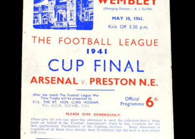 War Cup Final Arsenal v Preston 10.05.1941 1-1