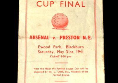 War Cup Final Replay Arsenal v Preston 31.05.1941 1-2