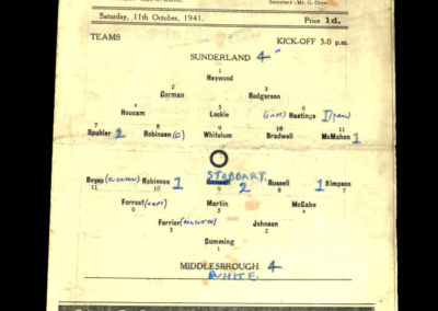 Sunderland v Middlesbrough 11.10.1941