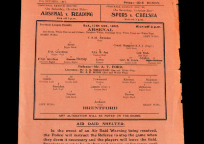 Arsenal v Brentford 17.10.1942