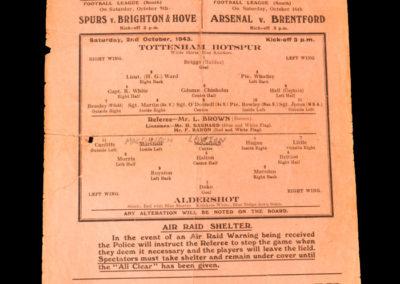Spurs v Aldershot 02.10.1943