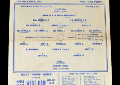 Chelsea v Brentford 16.12.1944