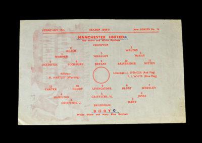 Man Utd v Bury 17.02.1945
