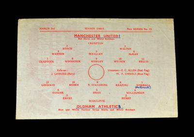 Man Utd v Oldham 03.03.1945 (War Cup)