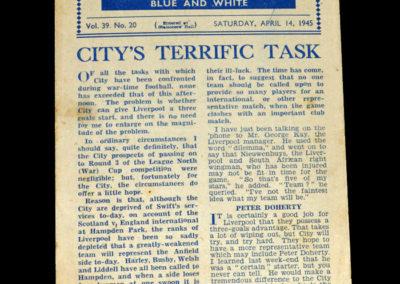 Man City v Liverpool 14.04.1945
