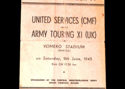 United Services v Army Touring XI 09.06.1945 in Naples