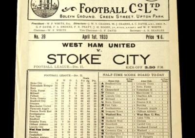 West Ham v Stoke 01.04.1933 (Stanley Matthews)