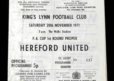 Hereford v Kings Lynn 20.11.1971 - 1st round proper at Kings Lynn 0-0 goalless draw