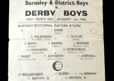 Barnsley Boys v Derby 01.01.1946 - in at fullback as a 14 year old