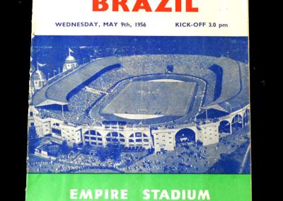 England v Brazil 09.05.1956 - 2 goals in a 4-2 win.