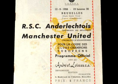 Anderlecht v Man Utd 12.09.1956 - a goal in a 2-0 win. United's 1st ever competitive European match.