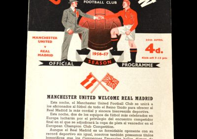 Man Utd v Real Madrid 25.04.1957 - semi final of the European cup. a goal in a 2-2 draw, after one in the 1st leg but its not enough and united go out.