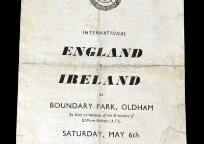 England v Ireland 06.05.1950 - picked for England schoolboys as a 13 year old & played for them for a record 3 seasons