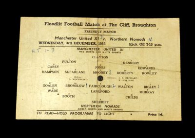 Man Utd v Northern Nomads 03.12.1952