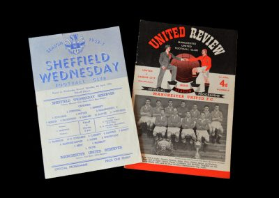 Sheff Wed v Man Utd 04.04.1953 - (Reserves) - listed for the reserves but drafted late into the 1st Team for his debut as the photo shows.