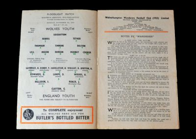 Wolves Youth v England Youth 08.11.1954
