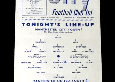 Man City v Man Utd 17.11.1954 - Youth cup 2nd round
