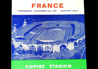 England v France 27.11.1957 - sadly his last international