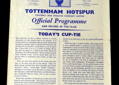 Spurs v Crewe 28.01.1961 - FA Cup 4th Round