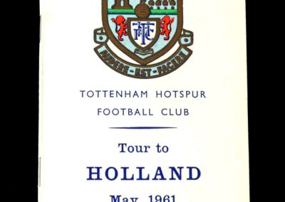 Spurs Tour of Holland Itinerary May 1961