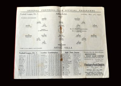Arsenal v Aston Villa 03.05.1930