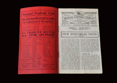 Arsenal v Aston Villa 08.11.1930