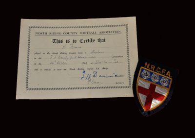 North Riding v Durham 29.10.1949 - Certificate and badge