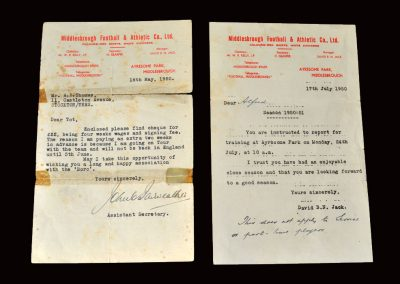 Boro Secretary letter 18.05.1950 and David Jack letter17.07.1950