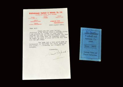 David Jack letter 23.08.1950 and players pass season 50/51