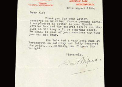 David Jack letter 23.08.1950