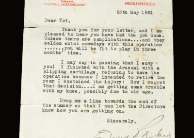 David Jack letter 25.05.1951 (referring to Arsenal and his retirement)