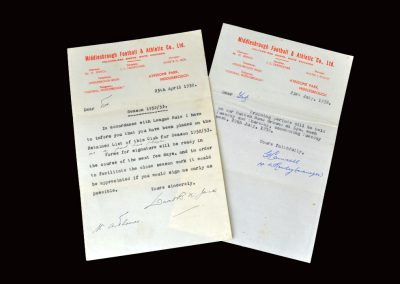 David Jack letter 25.04.1952 (retained) | George Camsell letter 23.07.1952