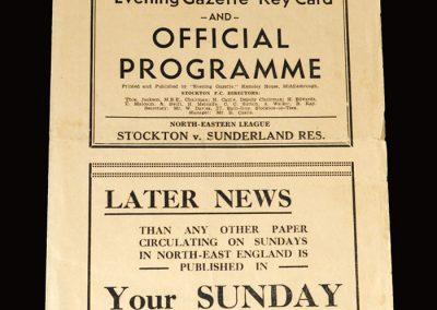 Stockton v Sunderland Reserves 06.12.1952