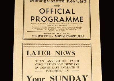 Stockton v Middlesbrough Reserves 25.12.1952