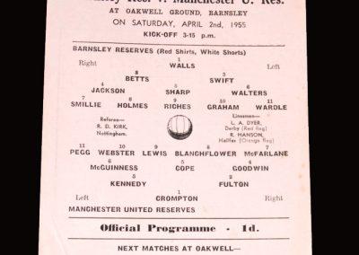 Barnsley Res v Man Utd Res 02.04.1955