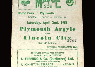Plymouth v Lincoln City 02.04.1955 1-0