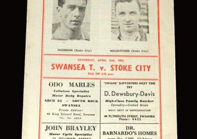 Swansea v Stoke 02.04.1955 3-5