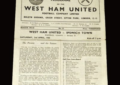 West Ham v Ipswich 02.04.1955 4-0