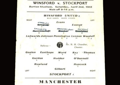 Winsford v Stockport Res 02.04.1955