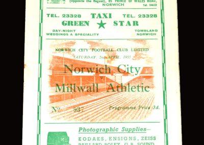Norwich v Millwall 02.04.1955 2-1