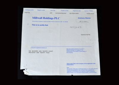 Millwall Share Certificate